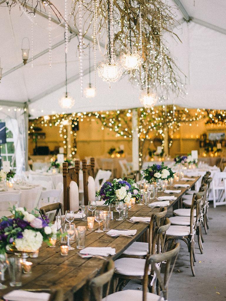 rustic wedding reception ideas with ceiling installation