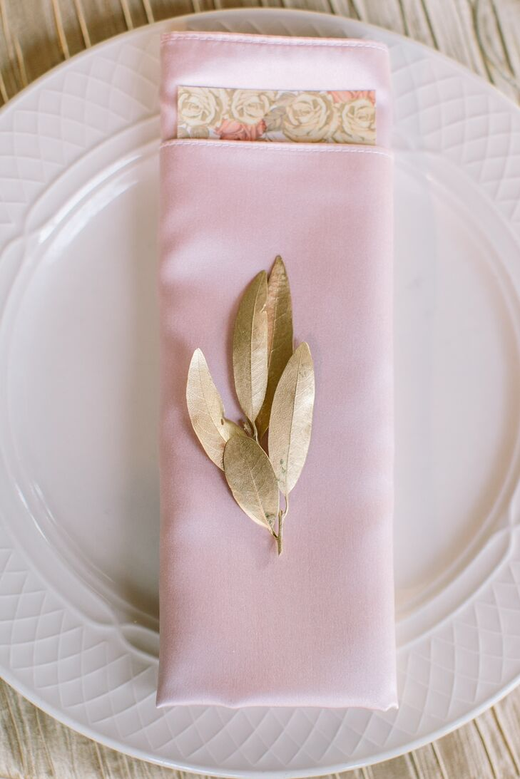 Gold Bay Leaf and Pink Napkin Place Setting