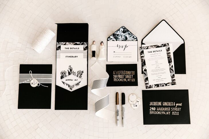 San Francisco's Jack & Ginger crafted the invitation suite and all signs for Anna and AJ's wedding. The design had an old Hollywood/Palm Springs feel, centering on a black-and-white palm motif.