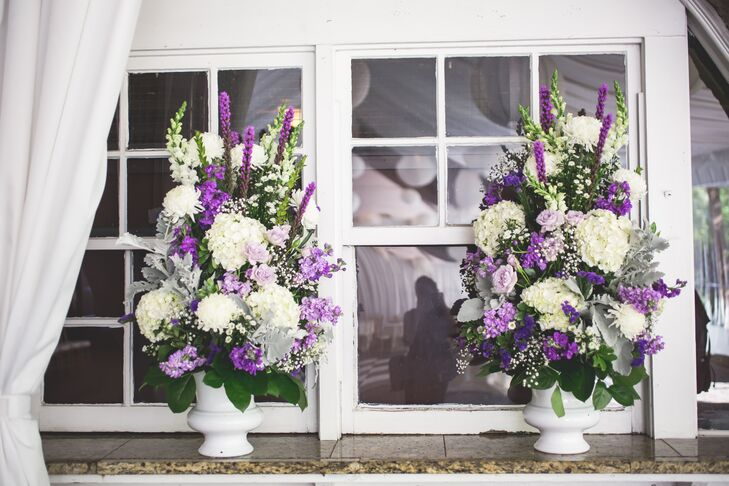 Large Lavender and Hydrangea Ceremony Arrangements