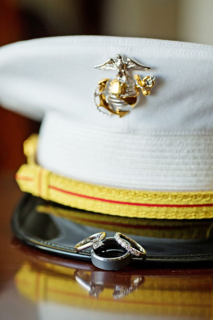 Wedding Rings Atop a Marine Corps Hat
