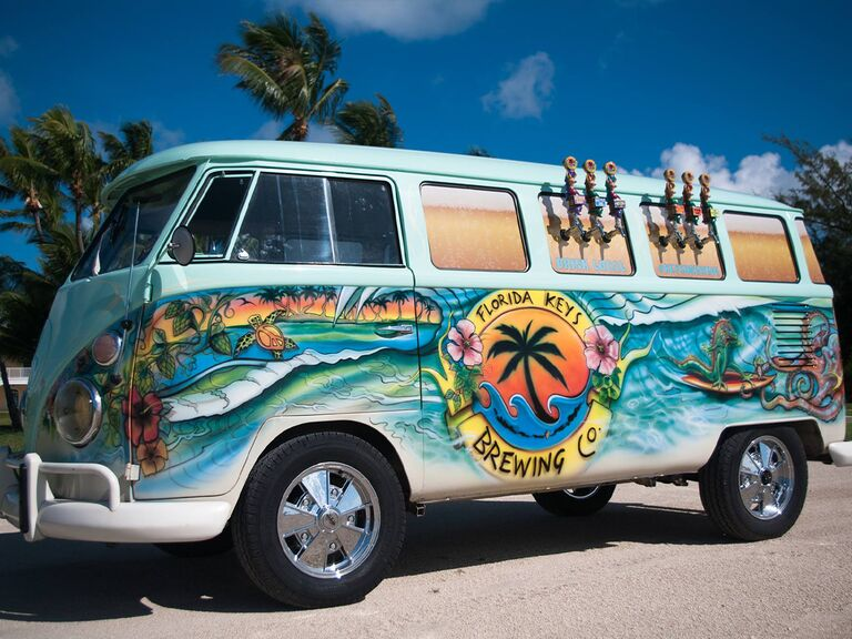 Vintage VW bus painted with sea theme and Florida Keys Brewing Co logo