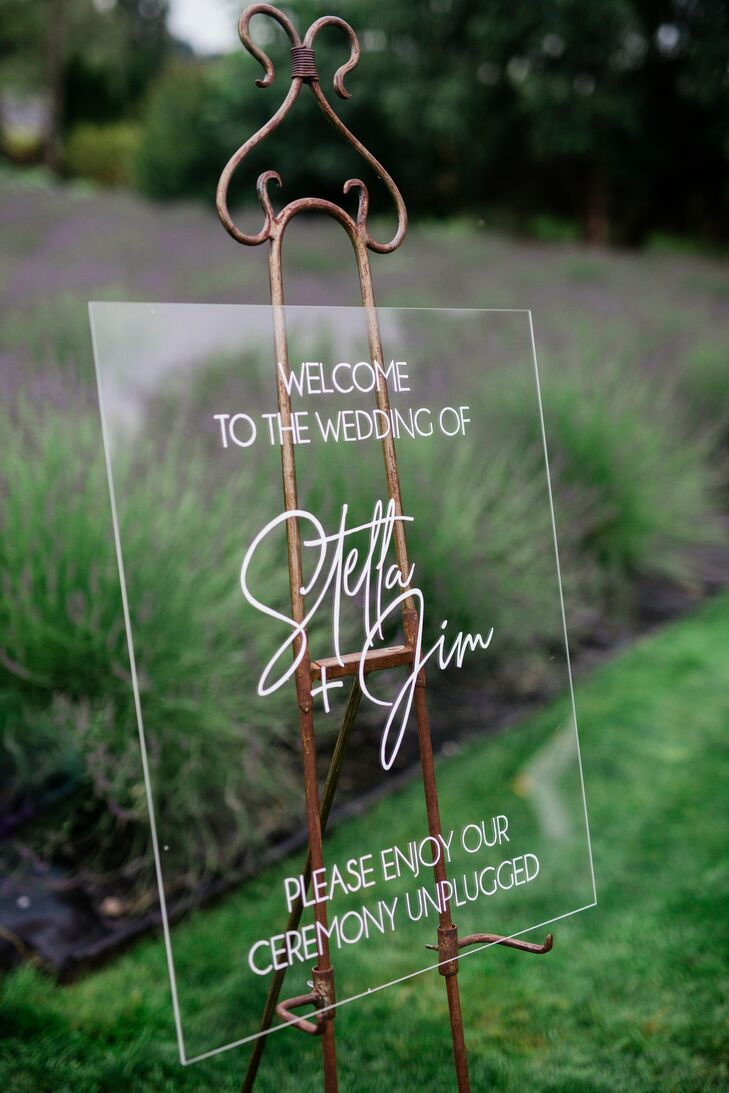 Acrylic Welcome Sign on Vintage Easel