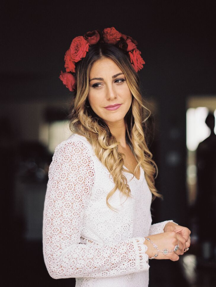 Flowers were an important part of Jenna and Jon's outdoor affair in Gloucester, Massachusetts, from the fresh-picked centerpieces to Jenna's Frida Kahlo-inspired flower crown. Moonstone & Moss created the vibrant headpiece that illuminated Jenna's long romantic waves.