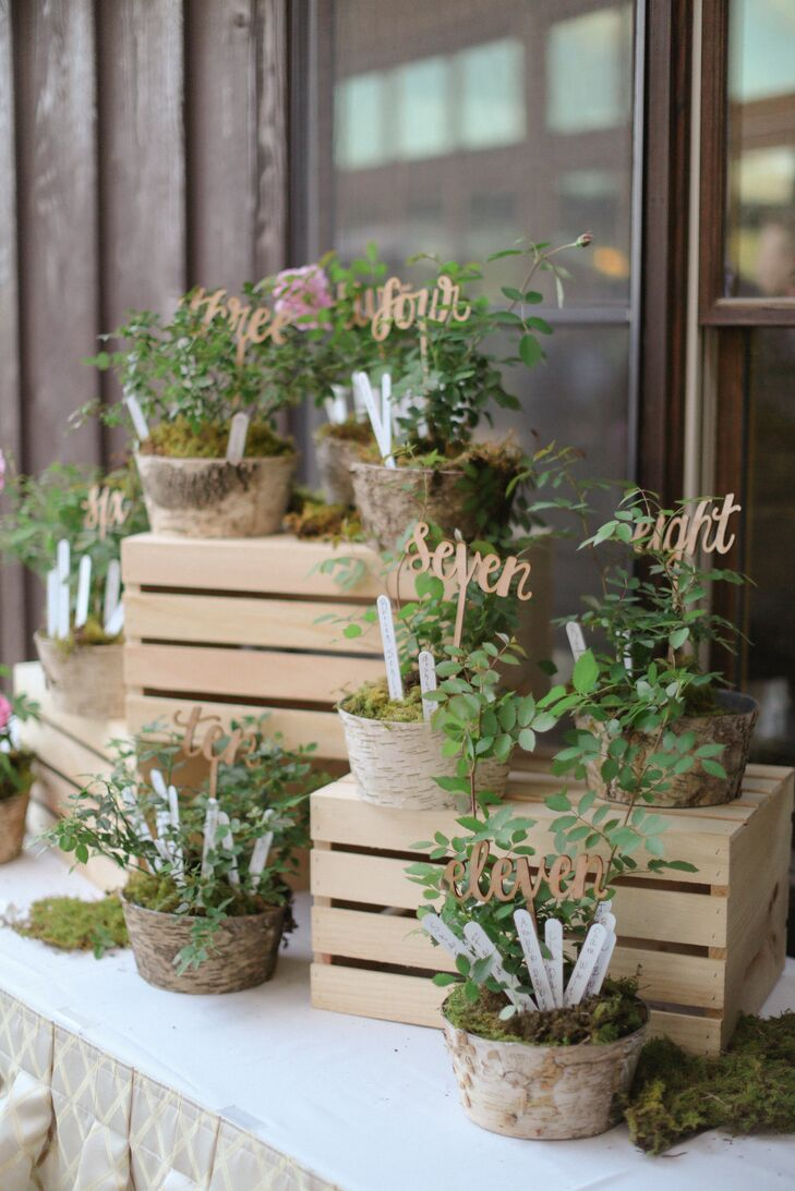 During cocktail hour, guests found their seating assignments sticking out of birch covered pots filled with reindeer moss and greenery.