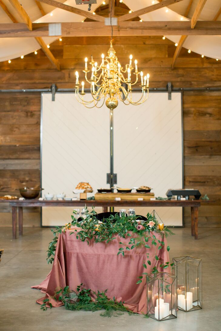 Rustic Chandelier, Wood Walls and Sweetheart Table