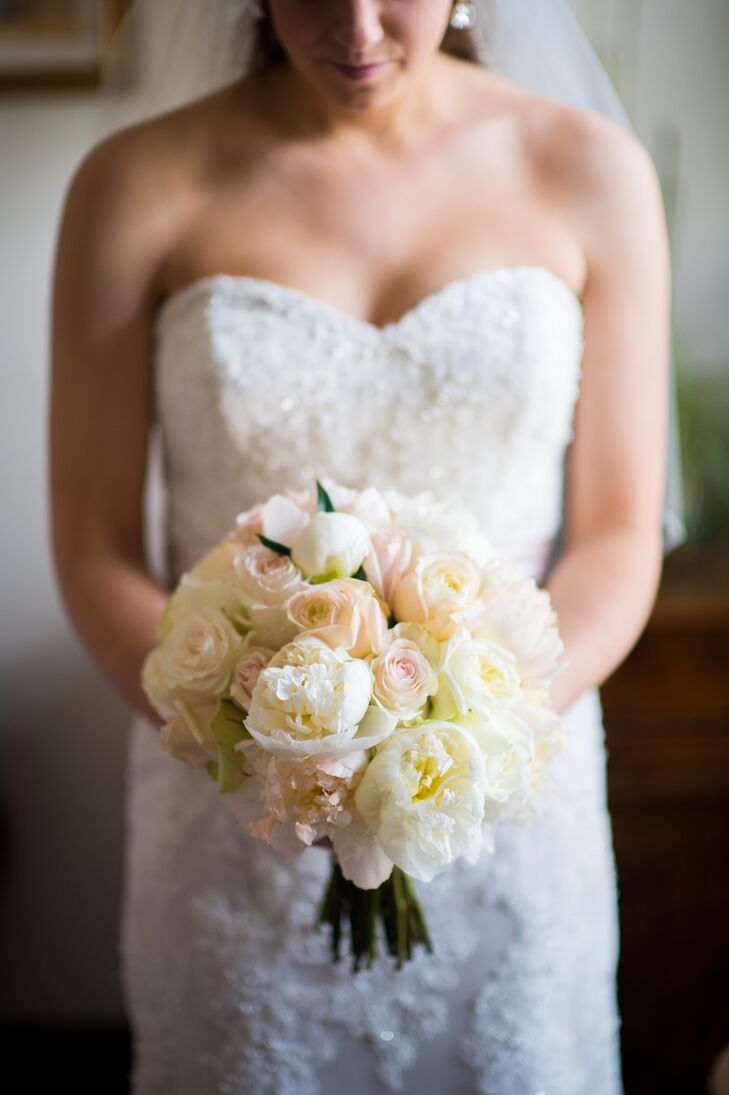 White Peony and Blush Rose Bouquet