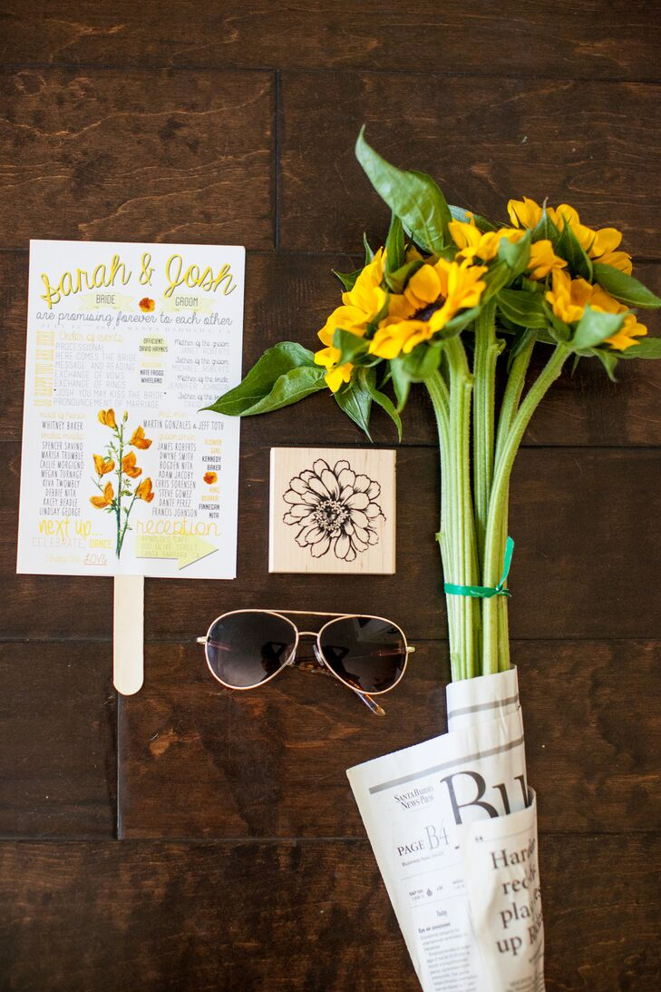 """""""The invitations were superaffordable and eco-friendly,"""" Sarah says. That's because the invitations doubled as response cards and were sent as postcards. Her stationer incorporated the couple's engagement photos in the custom creation."""