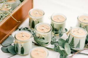 Personalized Candle Wedding Favors with Eucalyptus Leaves