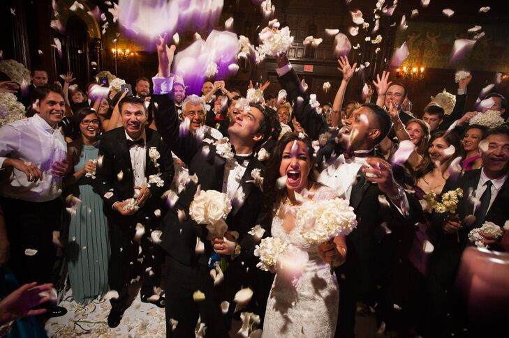 Wedding Exit with Tossed Flowers
