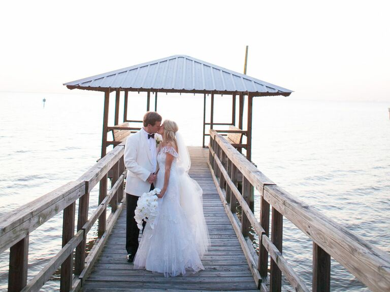 Alabama wedding by the river dock