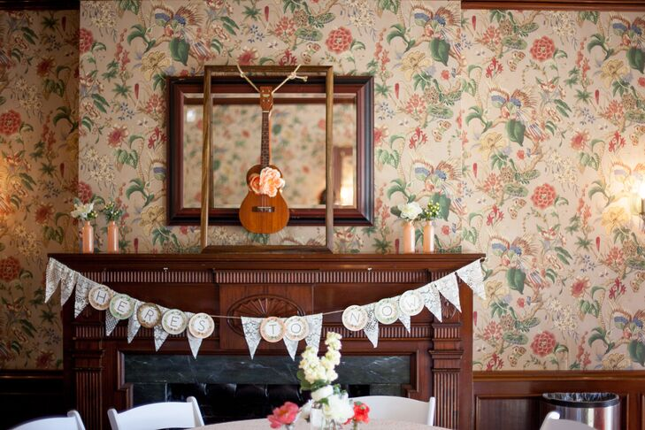 The groom, a luthier, both plays and builds guitars, so the bride and groom incorporated this into their decor. A ukulele Tom had made was displayed in the dining room of the Felt Mansion.
