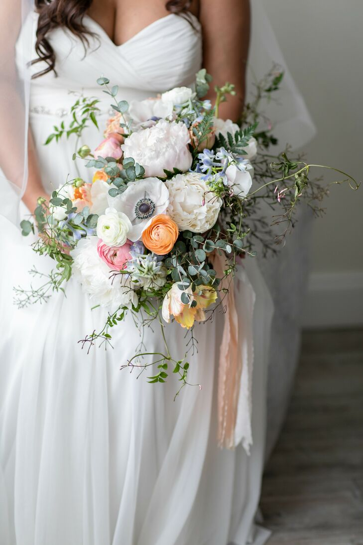 Bouquet with Greenery, Anemones, Peonies and Ranunculus
