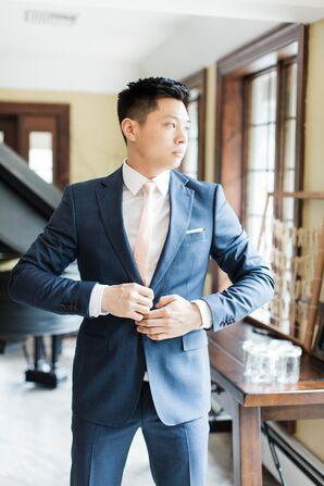 Zara Modern Navy Blue Groom's Suit