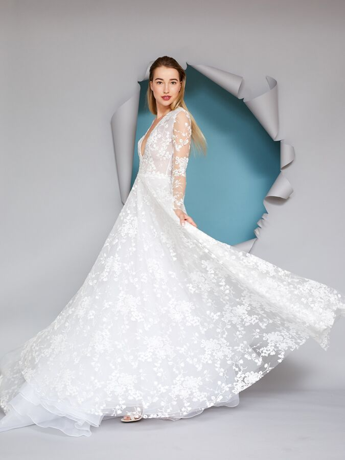 Gracy Accad lace ball gown with long sleeves