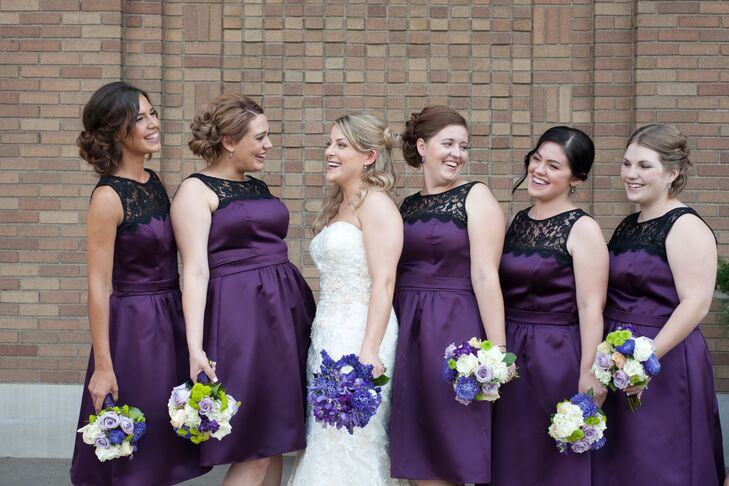 Purple Knee Length Bridesmaid Dresses With Black Lace Detail