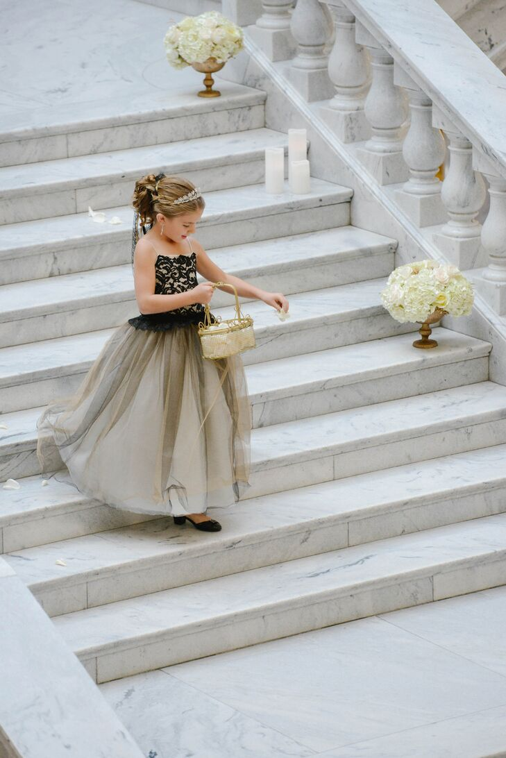 7574a6b64 Black Lace and Taupe Flower Girl Dress