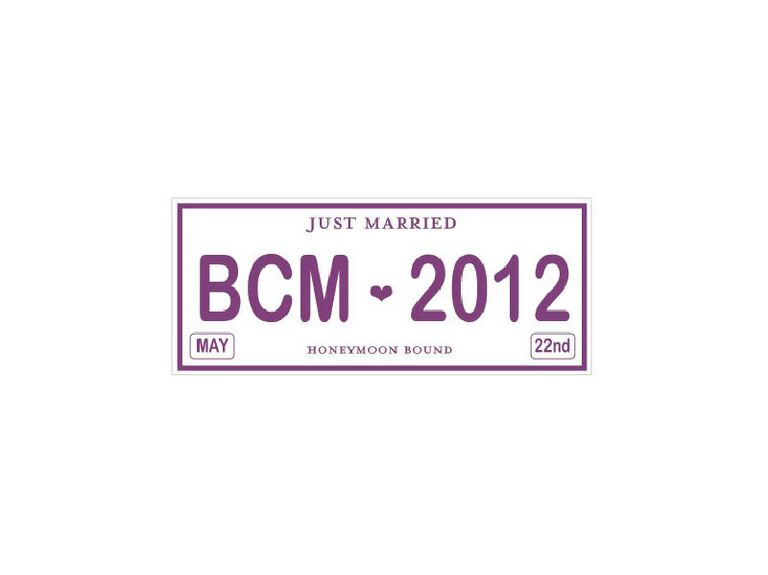 Just married license plate with purple text