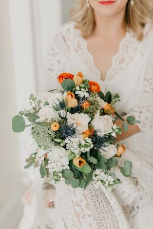 Romantic Bouquet with Eucalyptus, Ranunculus and Roses
