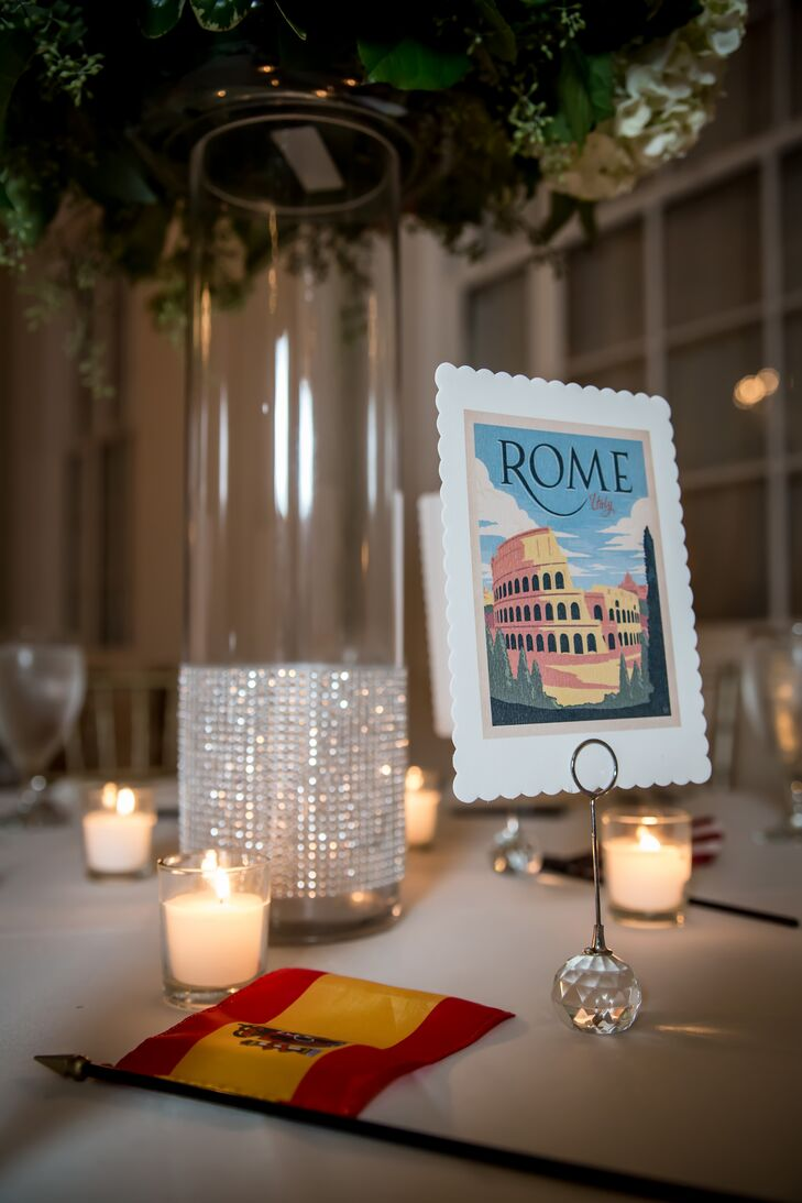 Kelly and Jonatan named their dining tables after their favorite cities around the world, and placed American and Spanish flags on each table for guests to party with.