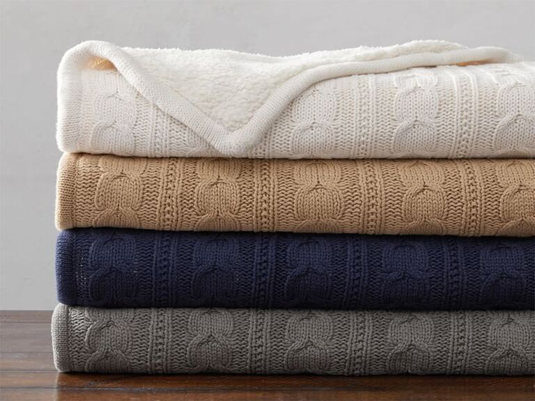 Pottery Barn cozy sherpa back cable knit throw