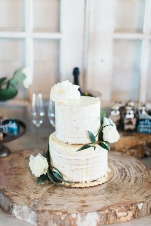 Rustic Naked Cake on Raw Wood Cake Stand