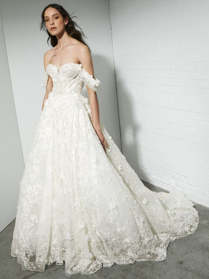 Rivini beaded ball gown with sweetheart corset