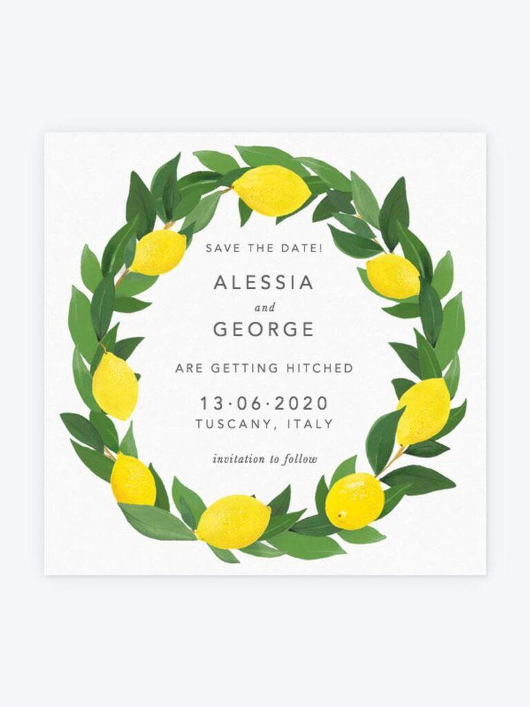Papier lemon destination wedding save-the-date