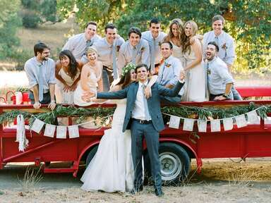 Wedding party in a truck