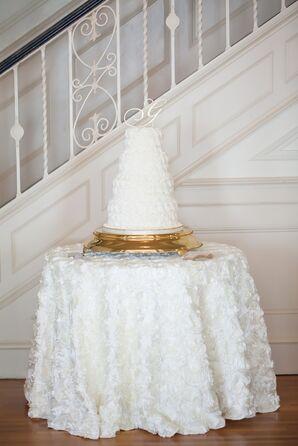 White Rosette Buttercream Round Wedding Cake