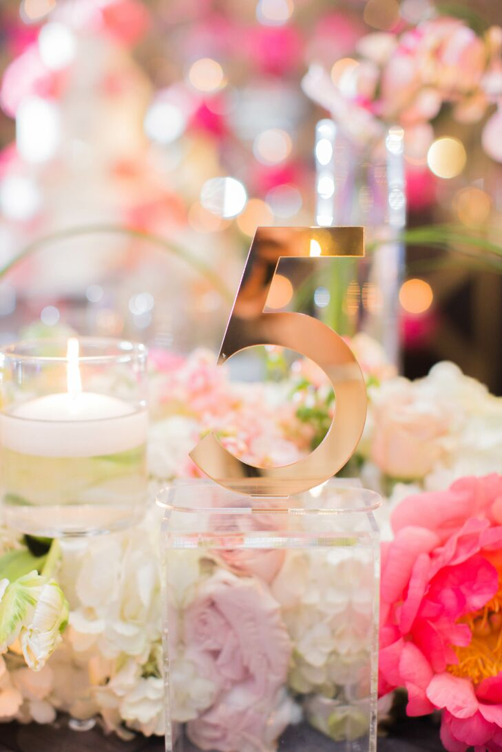 Elegant gold table numbers added to the ambiance at the Joule in Dallas, Texas.