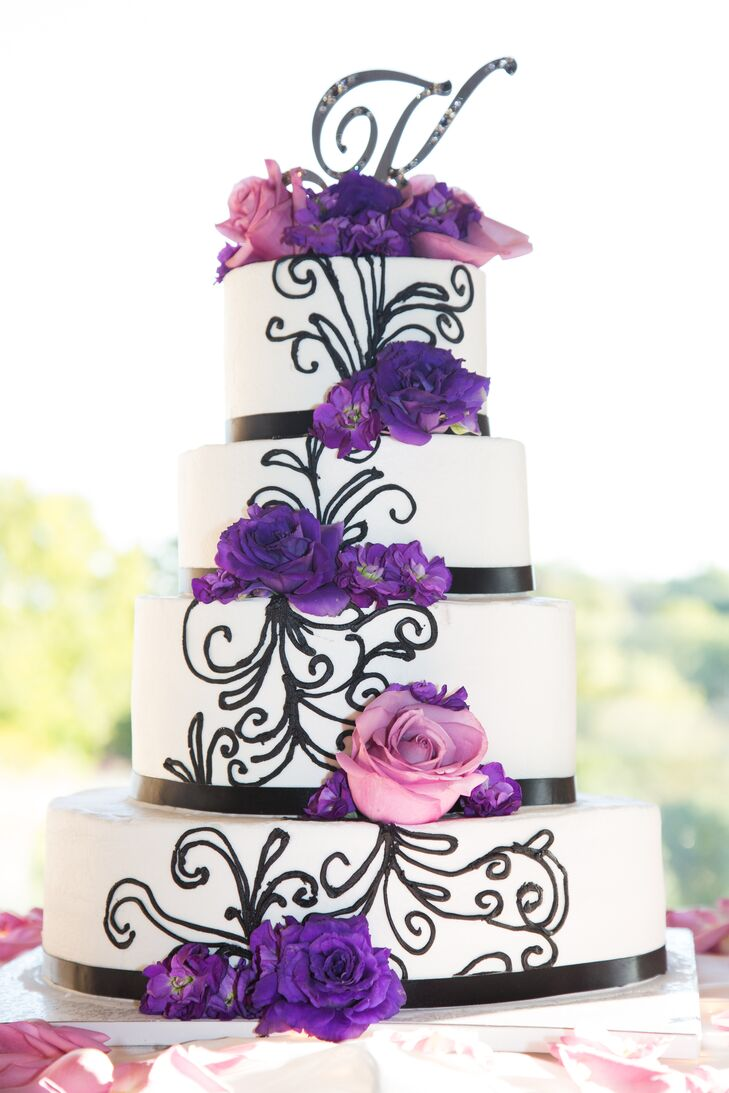 Black White And Purple Wedding Cake