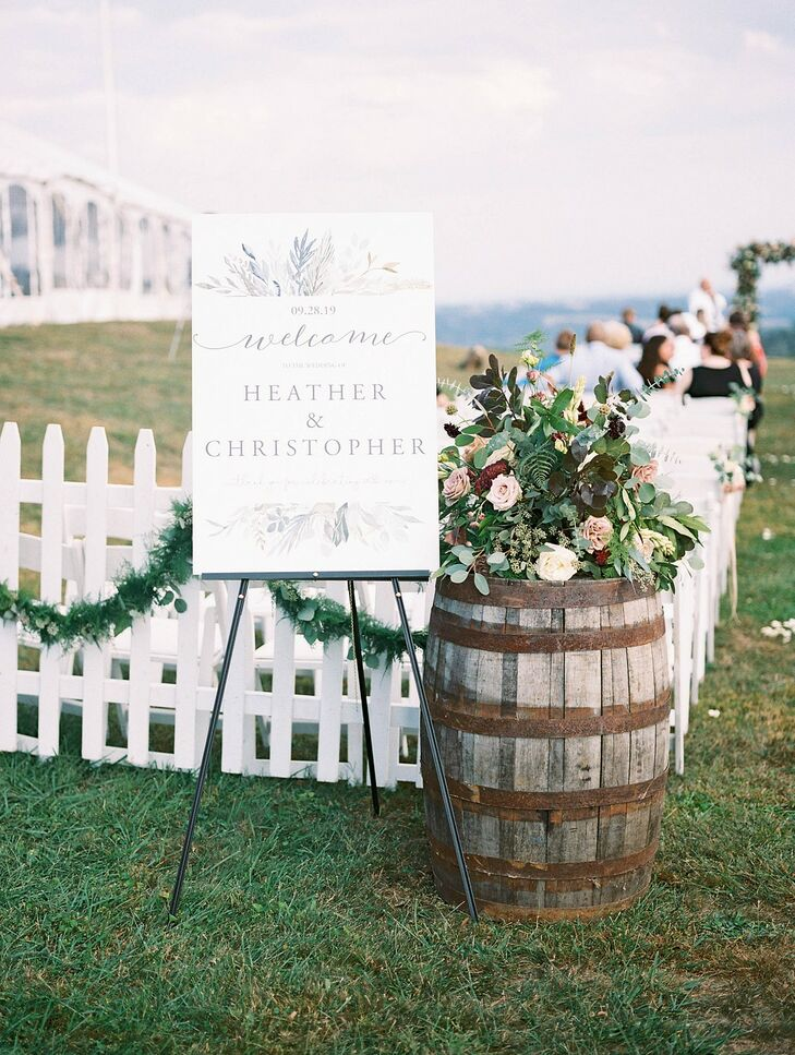 Ceremony Welcome Sign at Lauxmont Farms in Wrightsville, Pennsylvania