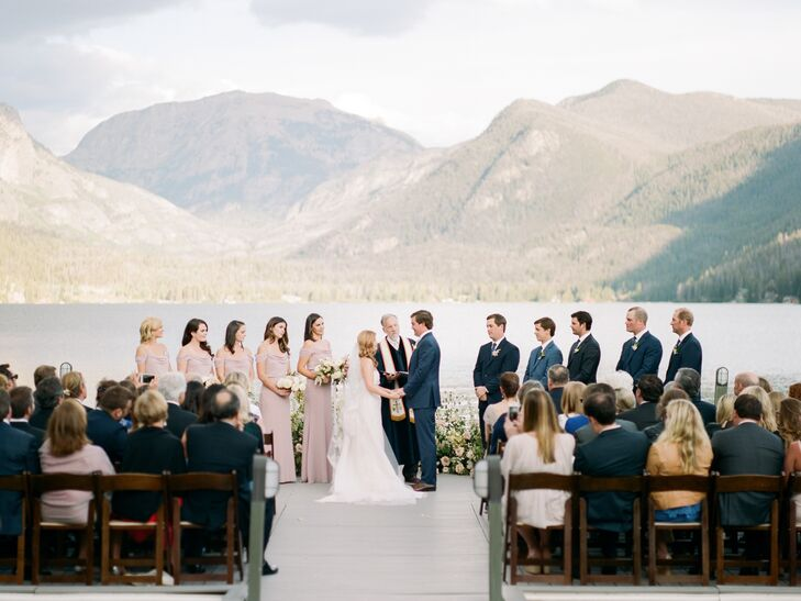 Romantic Wedding Ceremony with Mountain Backdrop