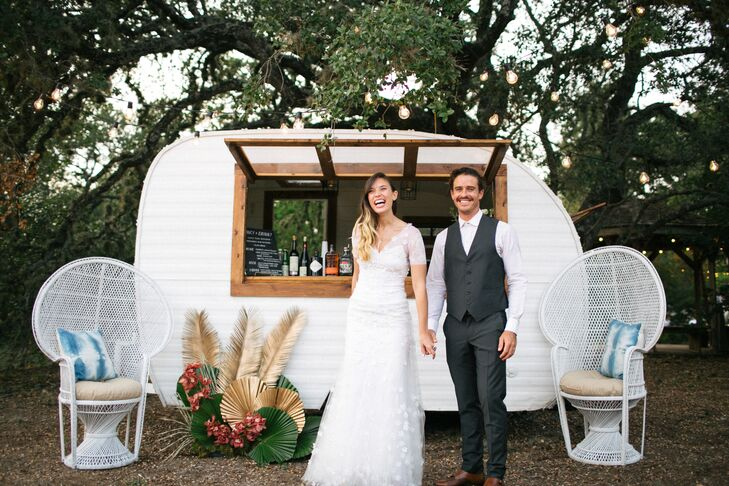 Vintage Trailer Bar at Wedding in Driftwood, Texas