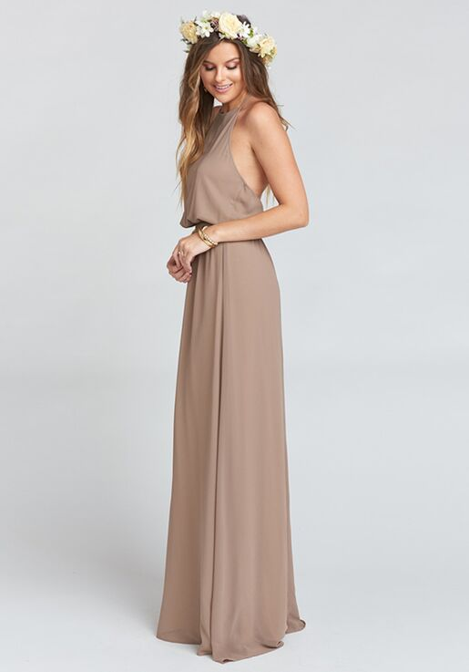 512e65a371b Show Me Your Mumu Heather Halter Dress - Dune Chiffon Halter Bridesmaid  Dress