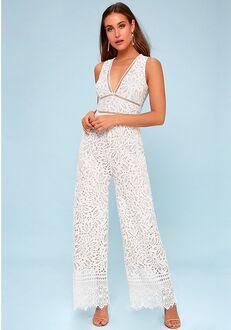 Lulus Amora White Lace Jumpsuit Wedding Dress
