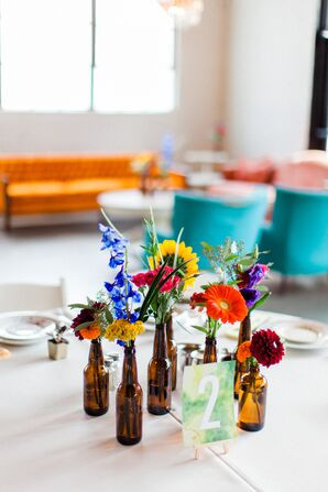 DIY Bottle Centerpieces with Sunflowers, Dahlias and Hyacinths