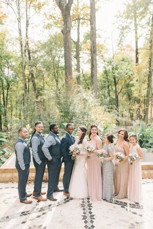 Long Blush Sequin Bridesmaid Dresses