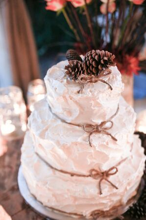 Rustic Buttercream Wedding Cake with Twine and Pine Cone