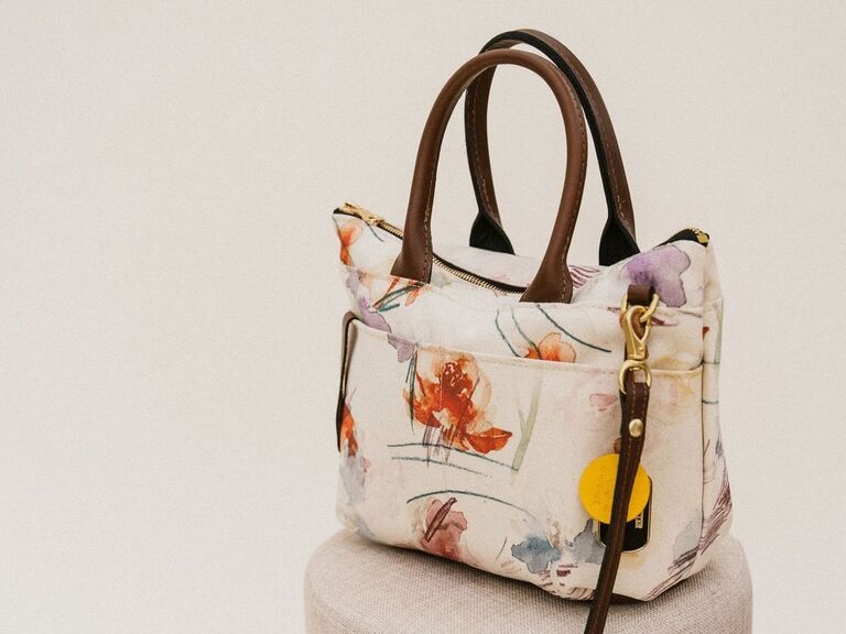 Floral canvas and leather satchel cotton 2-year anniversary gift