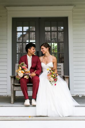 A-Line Halter Gown with Lace Bodice and Thin Straps and Burgundy Suit