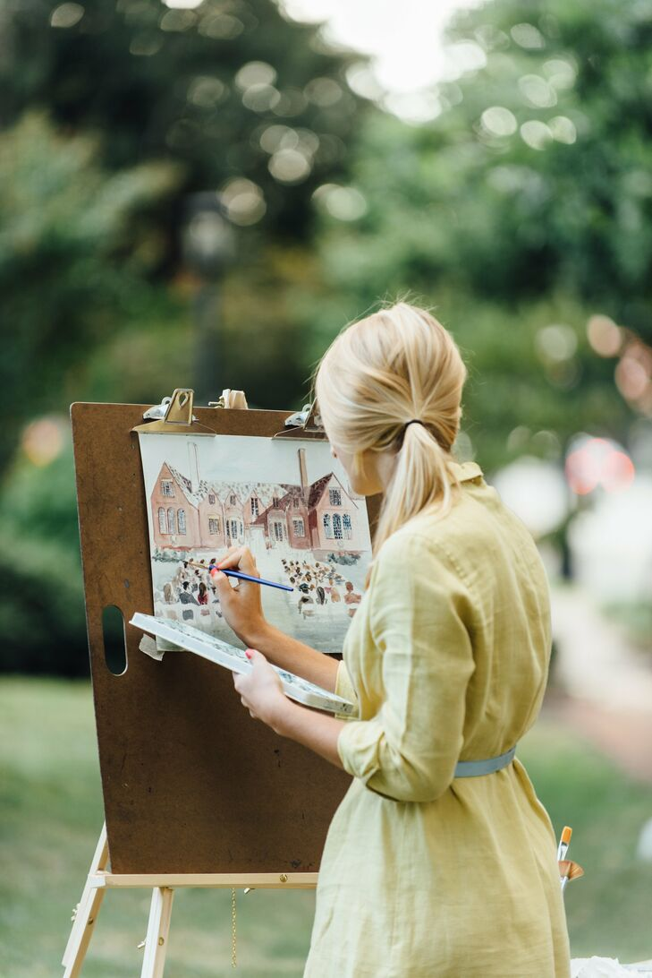 While Elizabeth and West had their photographer on hand to capture every detail of the ceremony, they also hired a live painter. The artist created a watercolor painting of the ceremony, leaving the couple with a memento.