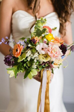 Elegant Bouquet with Colorful Pink Flowers and Leaves