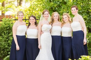 White and Navy Bridesmaid Dresses