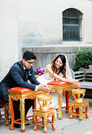 Elegant Thai-Inspired Water Ceremony with Bride and Groom