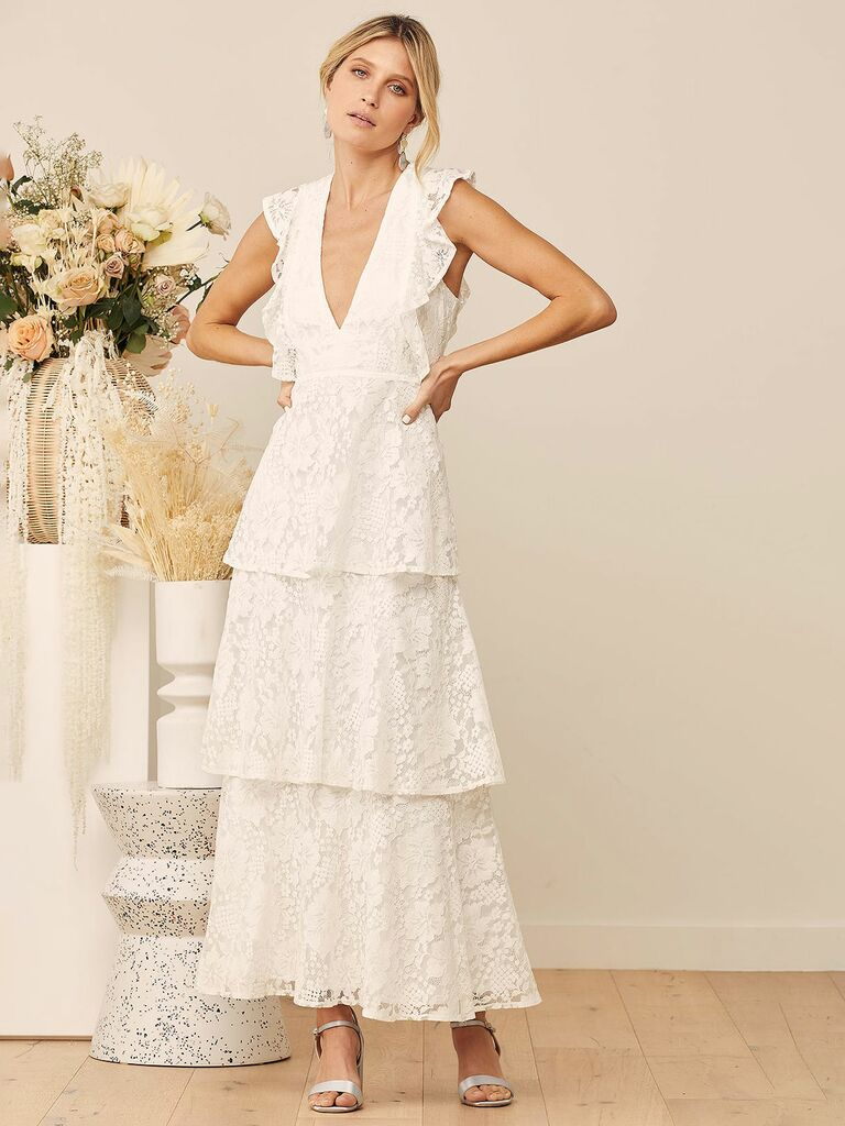 White Lace Ruffled Tiered Sleeveless Maxi Dress
