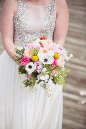 Bright Anemone, Rose and Peony Bouquet