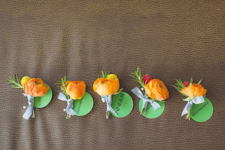 Dogan and his four groomsmen wore ranunculus and craspedia boutonnieres in a fun peachy shade of orange.