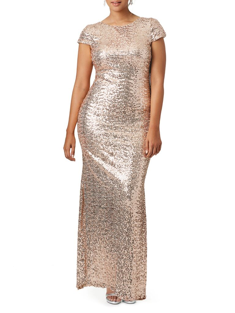 Gold shimmer maxi plus size dress